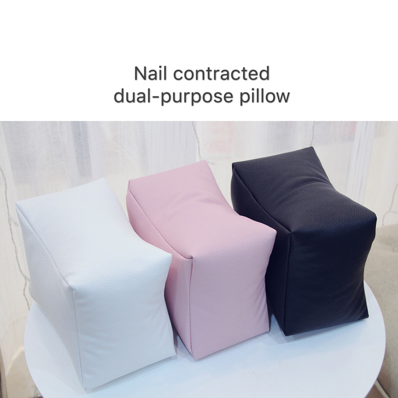Pro Nail Art Table Hand Pillow White Black Pink PU Leather Arm Rest Cushion Salon Manicure
