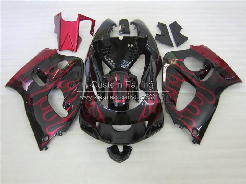Fairing kit for SUZUKI GSXR 600 750 1996 1997 1998 1999 2000 GSXR600 GSXR750 96 97 98 99 00 red flames black fairings set ZE10