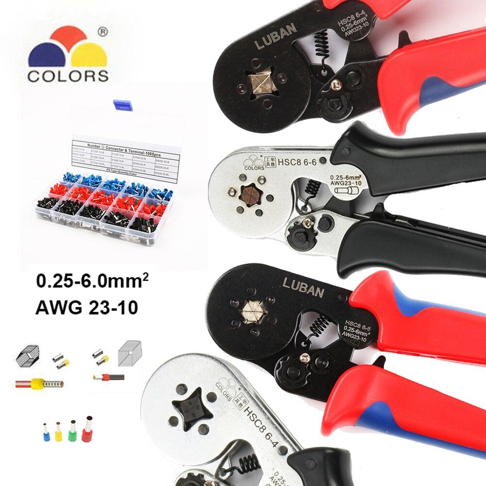 Couleurs outils HSC8 6-4 HSC8 6-6 AUTO-RÉGLABLE MINI-TYPE de SERTISSAGE PINCE 0.25- 6mm2 Pinces outils à main terminaux
