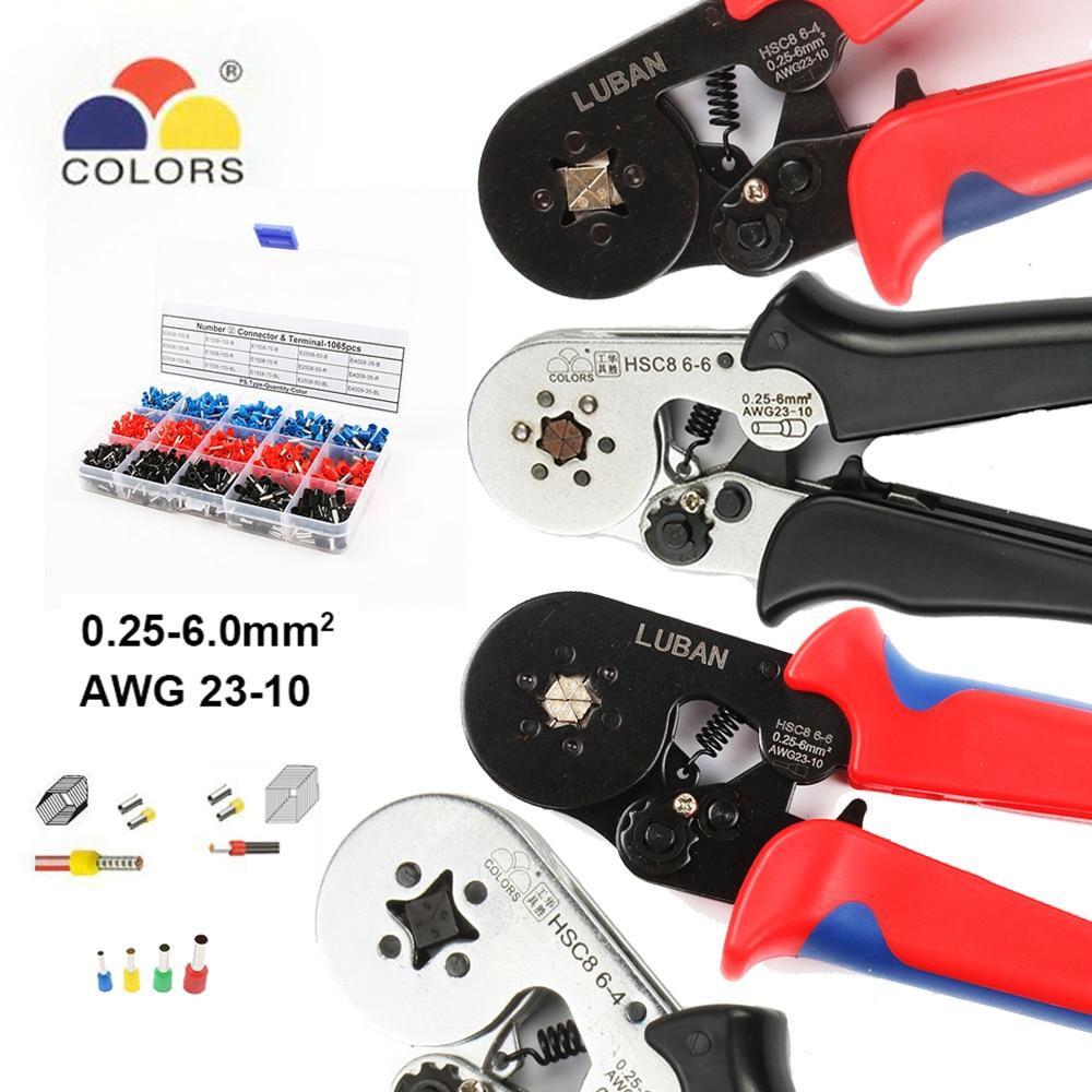 Farben werkzeuge HSC8 6-4 HSC8 6-6 SELBST-EINSTELLBARE MINI-TYP CRIMPEN ZANGE 0,25- 6mm2 Zangen handwerkzeuge terminals