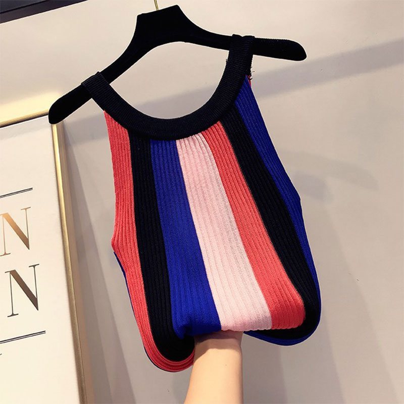 Sling Vest T-Shirt Tank-Tops Female Top Bottoming Knit O-Neck Strapless Vintage Sexy