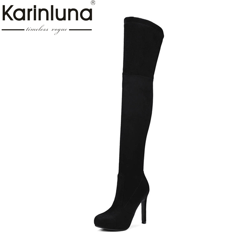 KarinLuna Brand New Large Size 34-43 Women Boots Sexy Thin High Heels Slip On Woman Shoes Long Boots For Party Dancing morazora fashion punk shoes woman tassel flock zipper thin heels shoes ankle boots for women large size boots 34 43