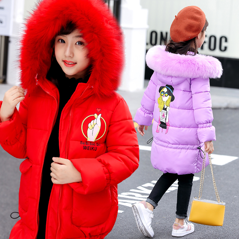2018 Kids Winter Coat For Girls Long Sleeve New Keep Warm Clothes Girls Thick Jackets Hooded Coat Snowsuits School Costume 10 12 muqgew 2017 hot sale newborn baby boys girls clothes autumn winter long sleeve hooded coat cloak thick warm clothes kid costume
