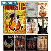 [SQ-DGLZ] MUSIC GUITAR Metal Sign Bar Wall Decoration Tin Sign Vintage Metal Signs Home Decor Painting Plaques Art Poster