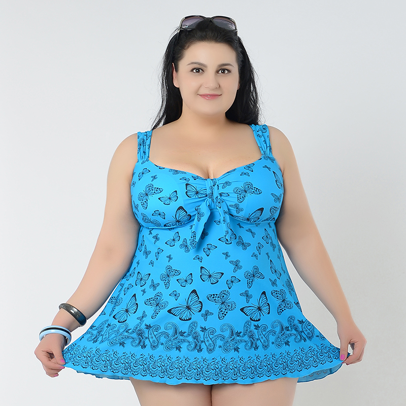 Sexy Big women Large size beach wear skirt swimwear butterfly printed wear  Big ladies swimsuit Two piece Plus Size swimming suit-in Body Suits from  Sports ... 71998239f4e6