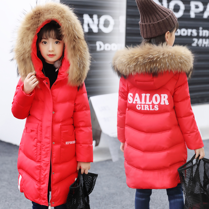 Girls Down Jackets 2018 Brand Winter Thicken Natural Fur Collar Hooded Children Duck Down Coat Outerwear Overcoat Parka 6-14 цена