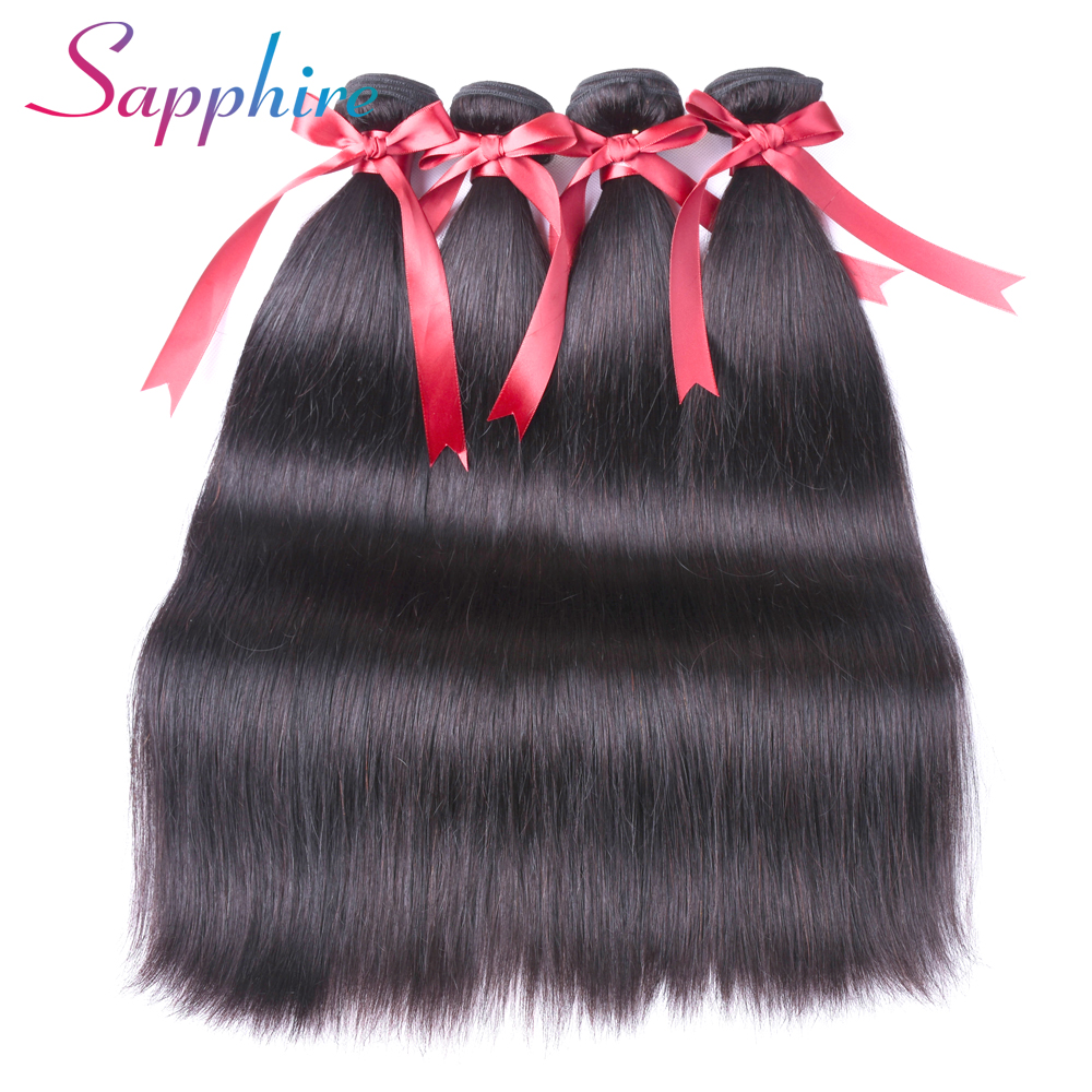Sapphire Peruvian Straight Hair Bundles Natural Color Human Hair Extensions Non Remy Hair Weave 4 Bundles Free Shipping