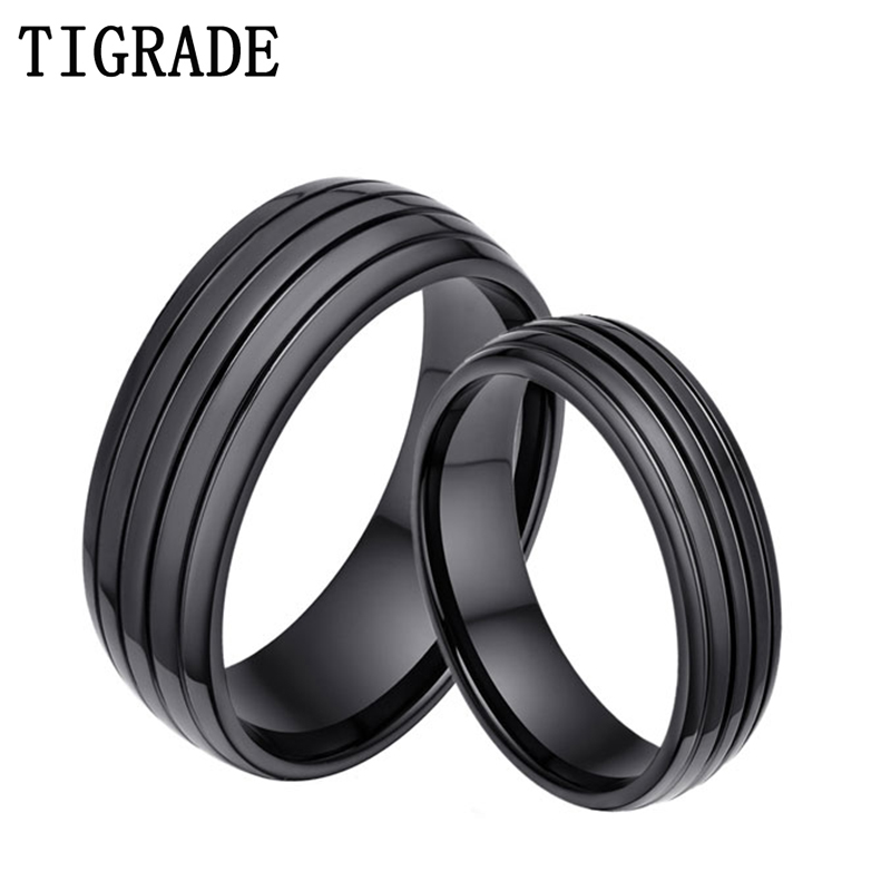 2pc 6mm8mm black titanium ring lovers couple rings for women men wedding bands engagement anniversary his - Black Wedding Rings For Her