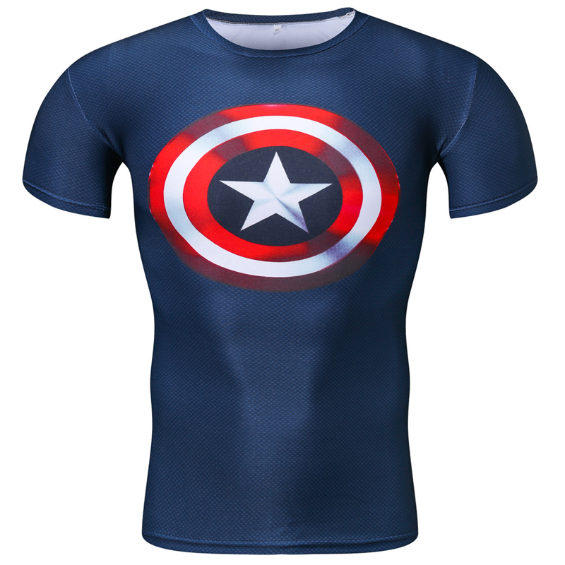 men clothes 2019 Newest Comic Superhero Compression Shirt Captain America Iron man Fit Tight Bodybuilding Short sleeve T Shirt in T Shirts from Men 39 s Clothing