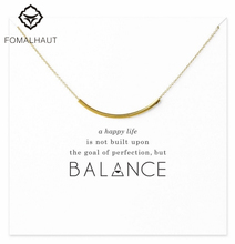 Sparkling balance curved tube necklace Pendant necklace Clavicle Chains Statement Necklace Women FOMALHAUT Jewelry