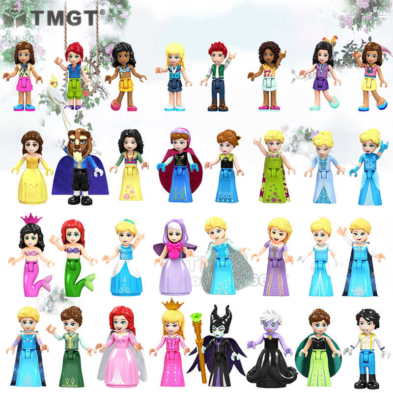 Playmobil Maleficent juguetes Girls Friends Emma Mia Dancet Princess Snow White Elsa Anna Building Blocks Toys Children gift