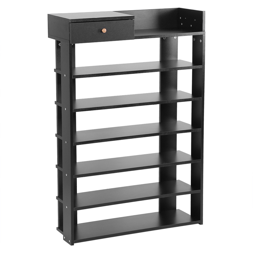 6 Tiers Standing Shoe Rack With Drawer Shoes Shelf Storage Organizer ...