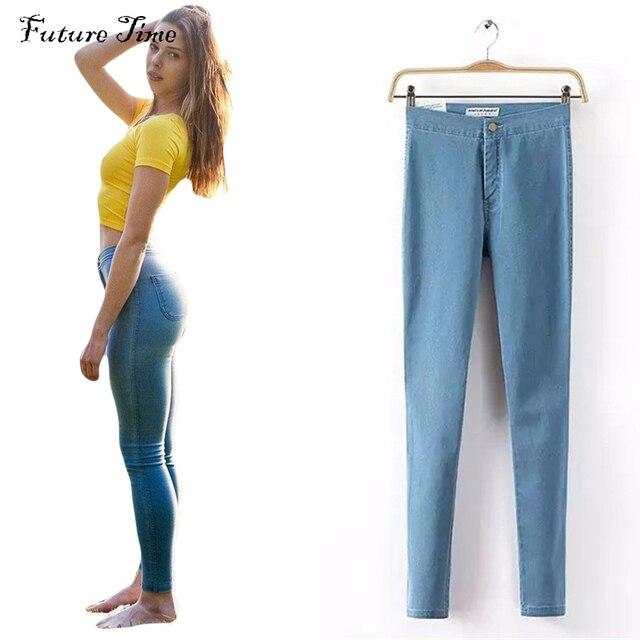 2016 Женские узкие джинсы на высокой талии высокого качества C0185