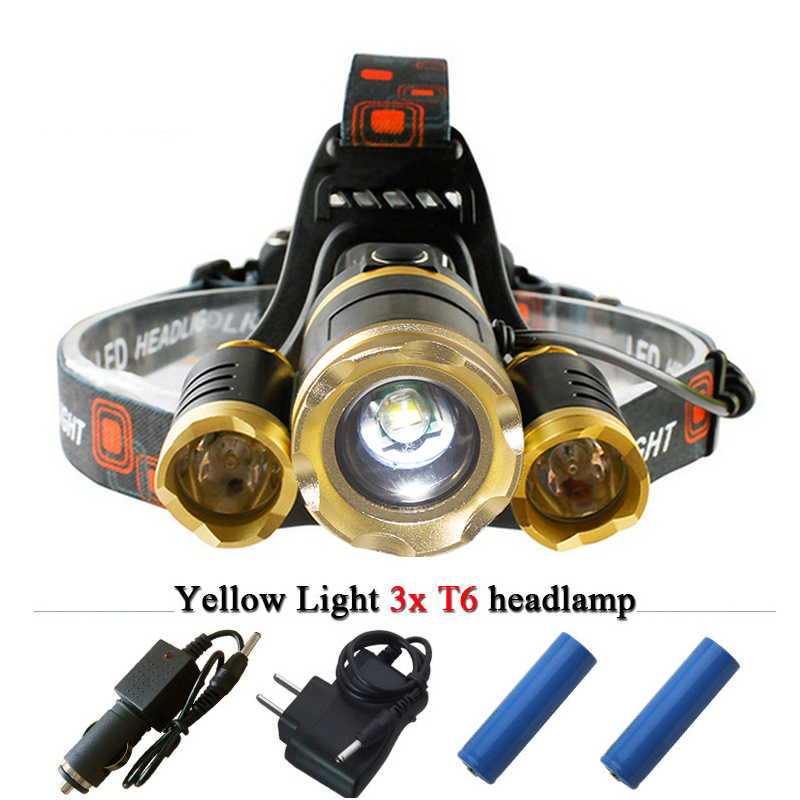 3 X CREE XML T6 Dual light source headlamp led headlights lanterna torch head lamp camp mining light fishing outdoor linterna