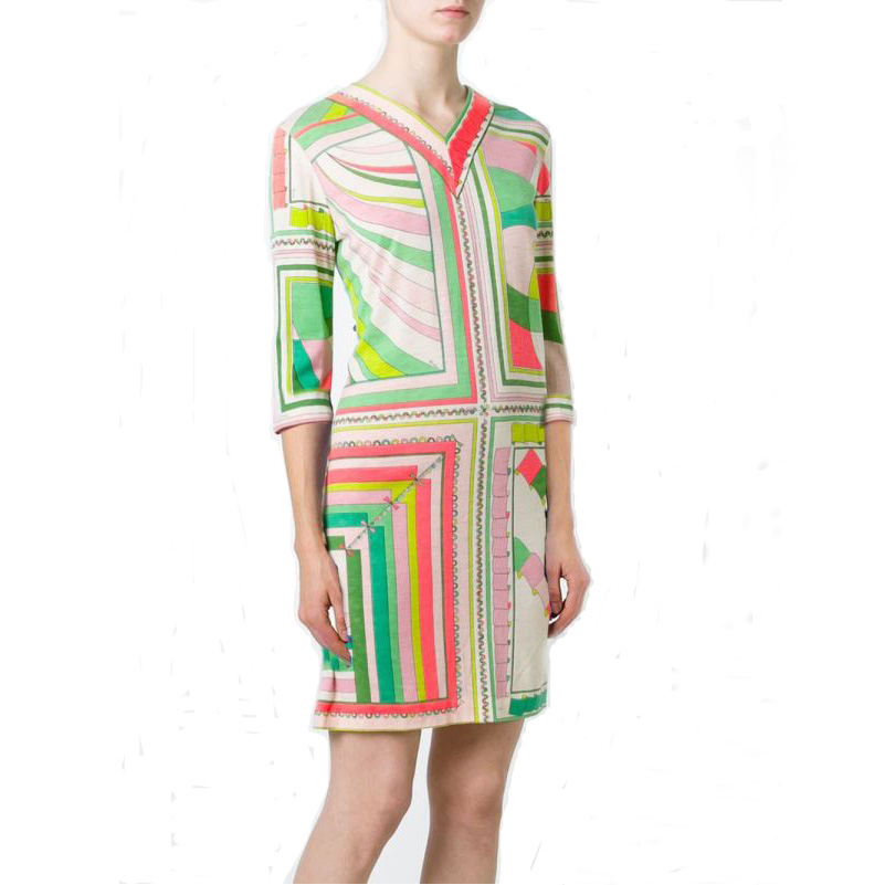Women s new v neck printed color matching half sleeve slim Knitted elastic dress plus size