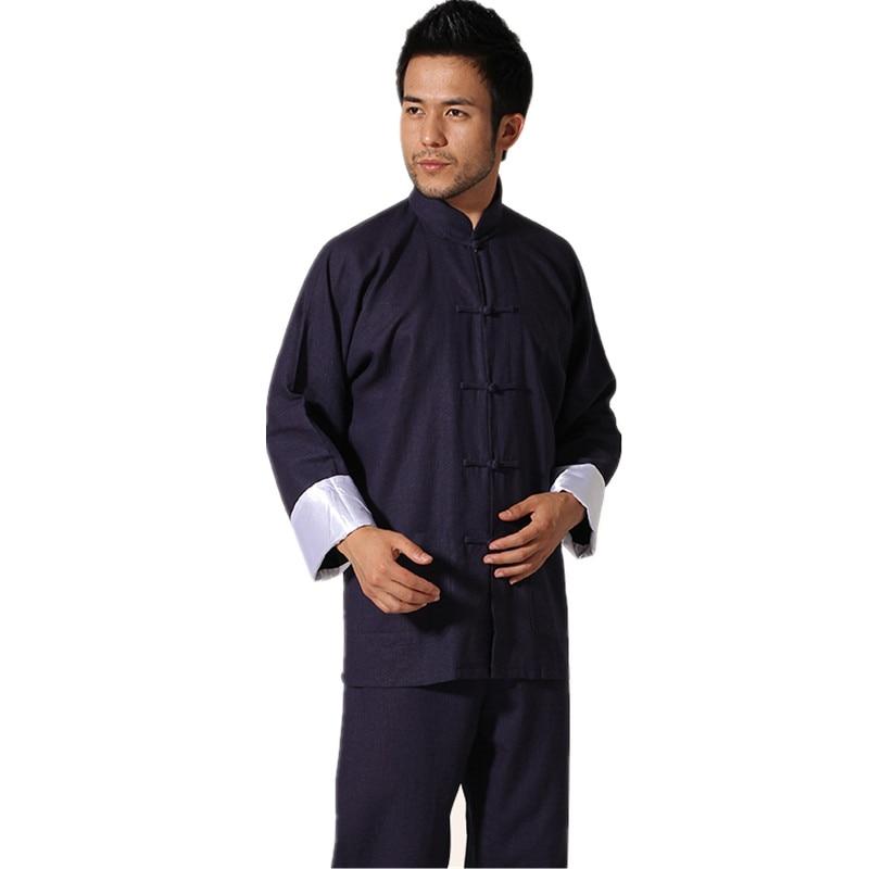 Chinese Traditional Men s Cotton Linen Kung Fu Suit Vintage Long Sleeve Tai Chi Wushu Uniform