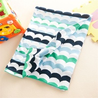 Knitted Boys Super Soft Green Blue Wave Reversible 100% Cotton Baby Blanket Toddler Infant Sofa Bedding Quilt