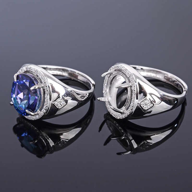 MeiBaPJ 10*12 prawdziwe naturalne tanzanii niebieski Topaz kamień mężczyźni pierścień lub puste pierścień wsparcie prawdziwe 925 Sterling srebrna biżuteria ślubna