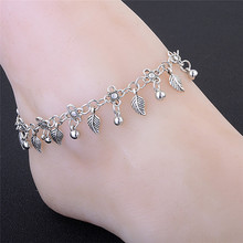 Модные богемные ножные браслеты с листьями для женщин серебристого цвета, браслеты для подбородка, ювелирные изделия для ног, босоножки, подарок