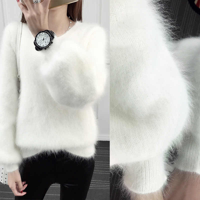 Autumn Loose Pullover Sweater Furry Lantern Sleeves Imitation Water Velvet White Plush Thickening Sweater Warm Women Tops MZ3235