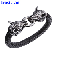 Cool Best Friends Stainless Steel Wolf Head Bracelets Bangles High Quality Black Genuine Leather Bracelet Men