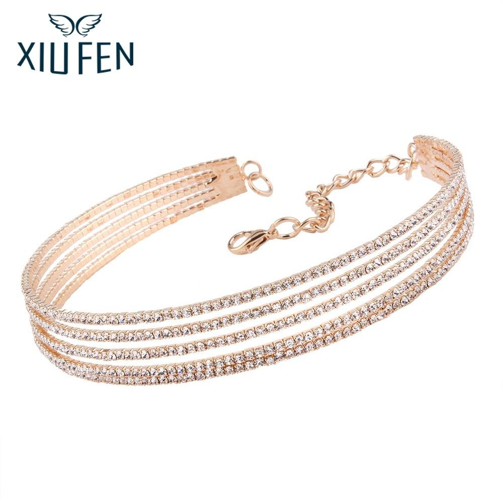 XIUFEN Women Fashion Delicate Multilayer Inlaid Rhinestone Necklace Concise Fashionable Pendant For Party Decoration