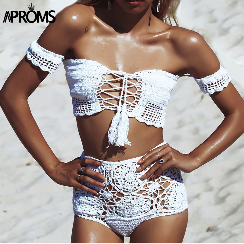 Aproms Off Shoulder Knitted Crochet Crop Top and Shorts Summer Beach Women 2 Piece Set Cool Girls Lace Up Romer Bikini Beachwear