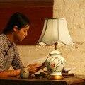 Современная Китайская Керамика Переключатель Настольная Лампа 110 В-240 В Светодиодные Настольные Лампы Спальня Кабинет Гостиная E27 40 Вт Настольные Лампы Подарки