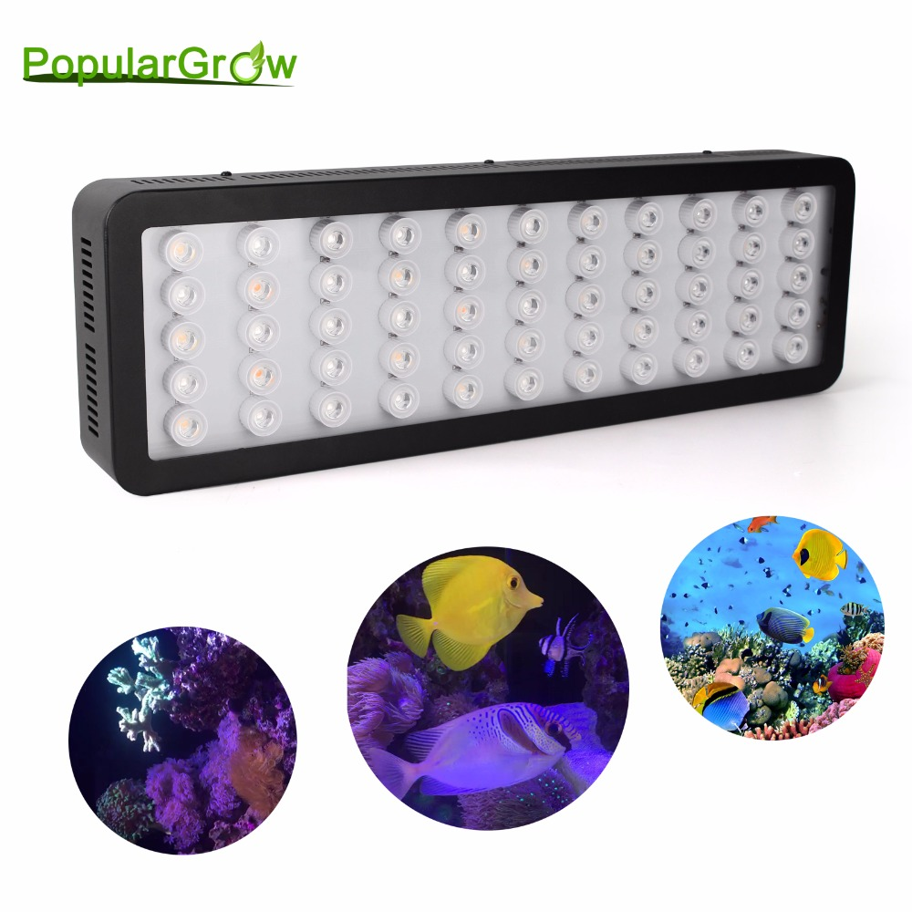 populargrow wifi 165w aquarium light for reef coral fish with dimmable and wifi function marine light