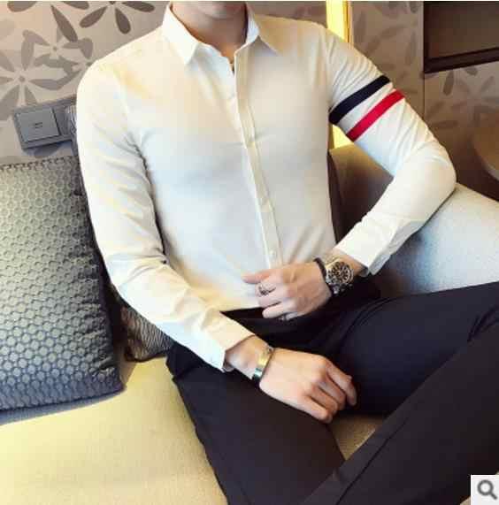 CH. KWOK полосатые принты мужские свадебные торжественные рубашки жениха с длинными рукавами повседневные мужские деловые рубашки черно-белые дизайнерские рубашки мужские