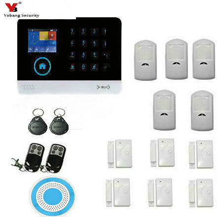 YobangSecurity Wireless Wifi Gsm Home Security Alarm System Kit with Auto Dial,Outdoor Siren PIR Motion Door Sensor Detector wireless smoke fire detector for wireless for touch keypad panel wifi gsm home security burglar voice alarm system