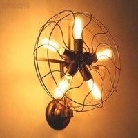 Ретро Лофт Стиль винтажные промышленные вентиляторы настенный светильник с 5 головы E27 лампочка Эдисона 110/220 В вентилятор стены освещение д