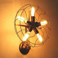 Retro estilo loft ventiladores industriais do vintage lâmpada de parede com 5 cabeça e27 edison lâmpada 110/220 v parede fã iluminação para casa