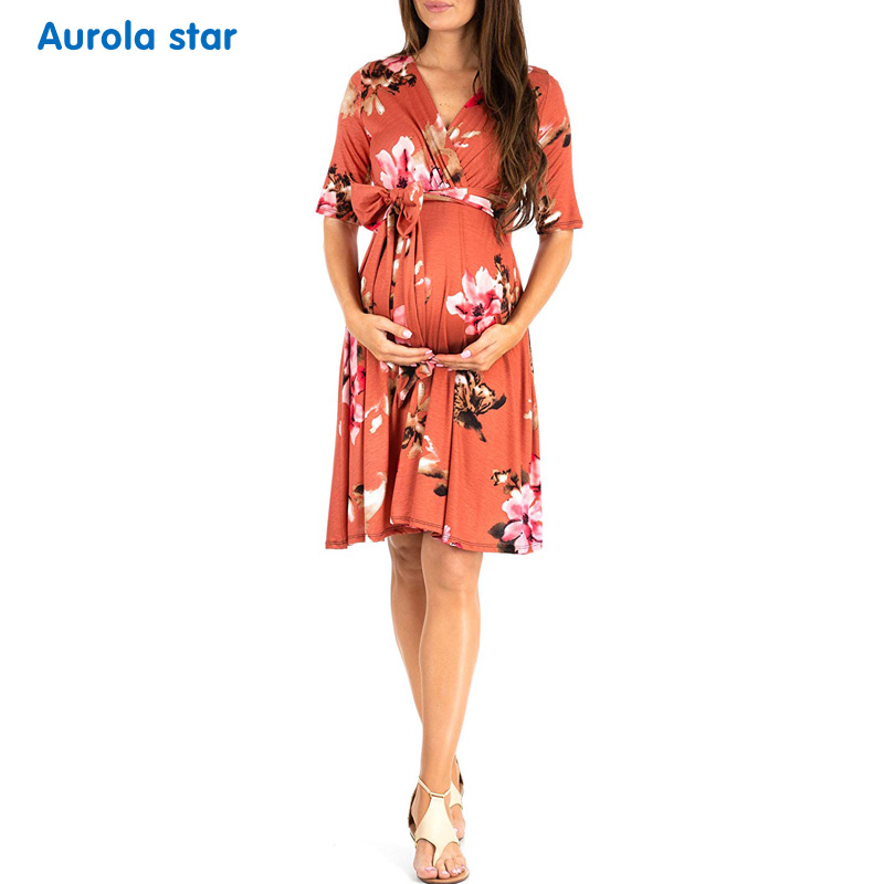 329e0bdfebfc6 Detail Feedback Questions about Pregnancy dress Photo shoot Dress Baby  shower Party Dress Daily Summer Maternity For Clothing Half Sleeve Wrap  Lactation ...