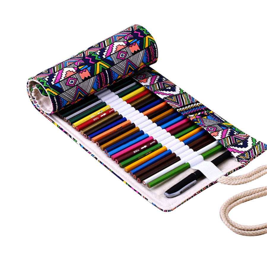 Cute School Pencil Case 12/24/36/48/72 Holes Roll Pencilcase Canvas Penalty Pencil Bag Mini Large Pen Pouch Stationery Supplies 36 48 72 holes fold pencil case canvas pencil box zipper solid color pencil bag cute sketch pen case for student school gifts