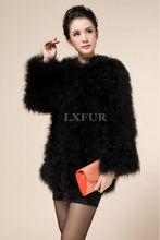 Fashion Real Ostrich Fur Jacket Elegant Womens Turkey Fur Coats Casual Spring/Autumn Solid Outwear LX00276