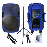 STARAUDIO 15 Inch 3500W Powered Active DJ PA Speaker System Stage Audio PA DJ Speaker Stand Wired Handheld Microphone SSBM 15