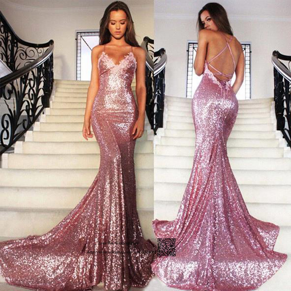 Sexy Pink Sequined Mermaid Prom Dresses Cheap Long Evening Party Dress Formal Special Occasion Backless Vestidos