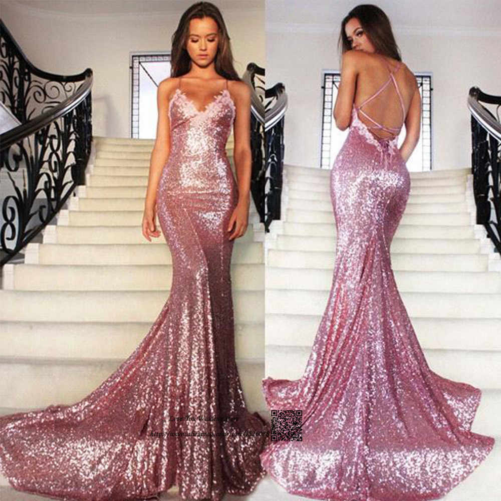 00696039b7076 Sexy Pink Sequined Mermaid Prom Dresses Cheap Long Evening Party Dress  Formal Special Occasion Backless Vestidos de Formatura