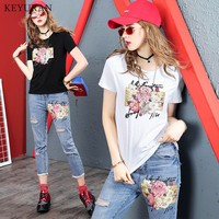 Spring Summer Sequined Floral T Shirt Jeans Suit Women Short Sleeve Tshirt Cotton Top And Ankle Denim Pants Two Piece Set Outfit