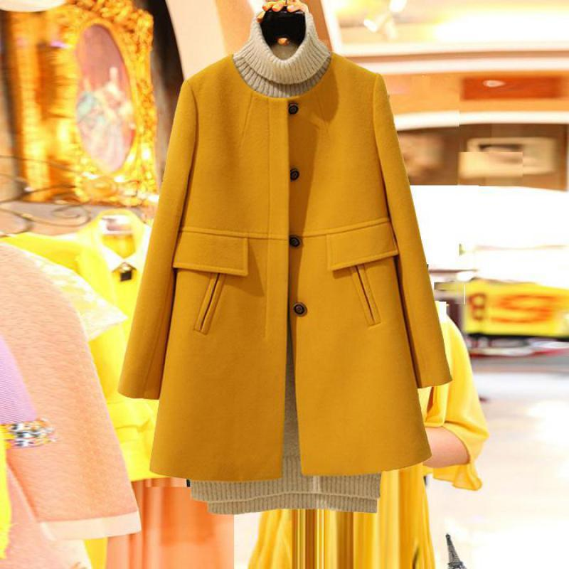 Plus Size Korean Coat Yellow Medium Long Black New 2019 Spring Autumn  Long Sleeved O neck Wool Coat Women Loose A aline CasacosWool & Blends   -