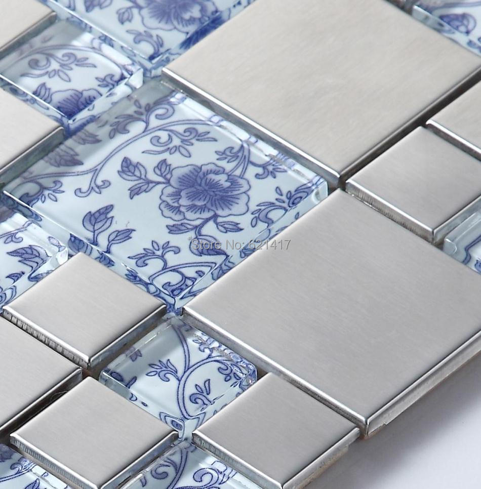 blue color flower drawing glass mixed stainless steel mosaic for ...