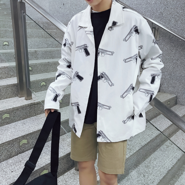 Men's Jackets 2018 New Products Spring Printing Casual Clothing Large Size Personality Trends Cotton Hip Hop White Orange Jacket
