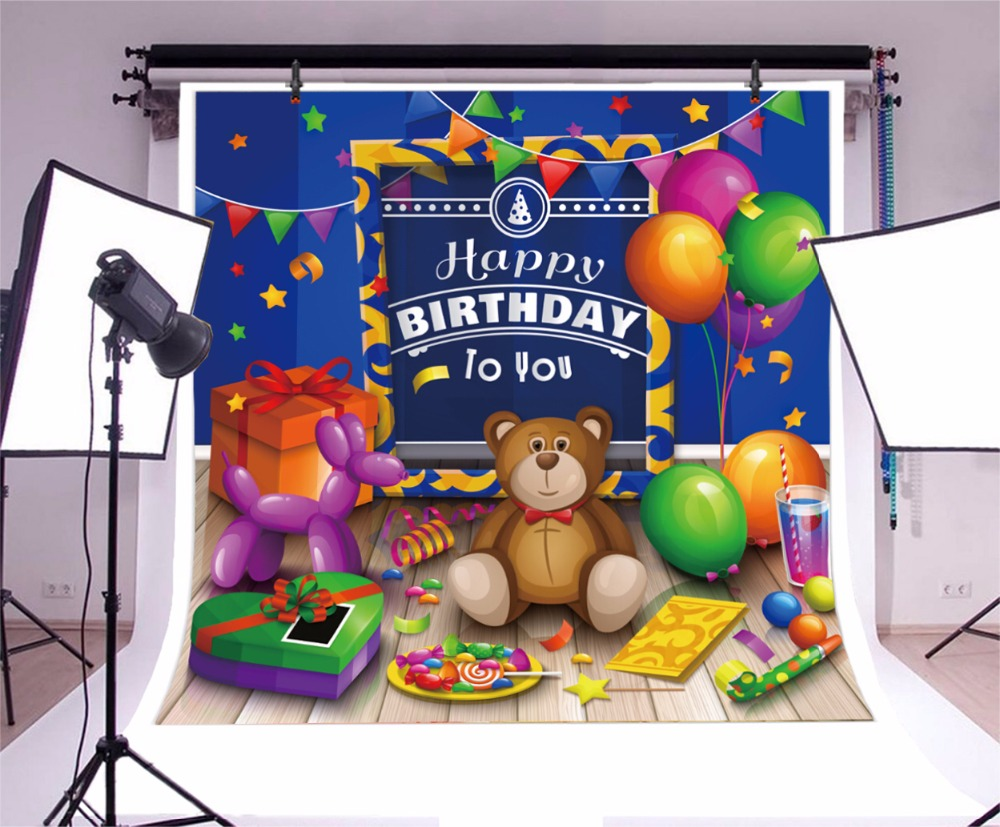 Laeacco Baby Birthday Party Cartoon Balloon Toy Decor Photography Backgrounds Custom Photographic Backdrops For Photo Studio in Background from Consumer Electronics