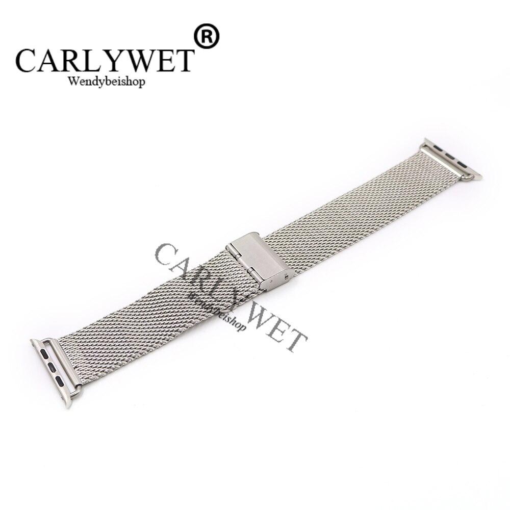 CARLYWET 38 42mm En Gros Connecteur Adaptateur Argent Maille Épaisse Inoxydable Bracelet En Acier Bracelet Pour Apple Montre iWatch