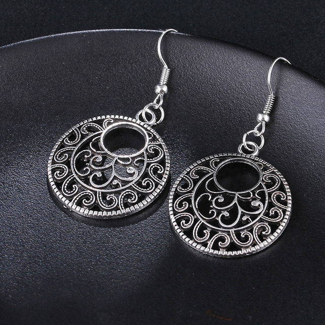 RscvonM New Boho Vintage Tibetan Silver Round Ear Hook Tribal Earrings Retro Big Flower Long Hanging Earrings Statement Jewelry 2