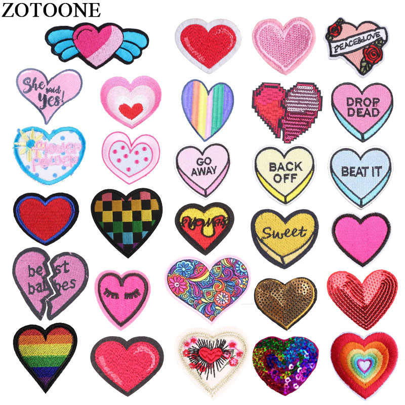 ZOTOONE Iron On Heart Patches For Clothes Embroidery Applique Sequin Love Letter Patch Jeans DIY Iron Sticker For Clothing