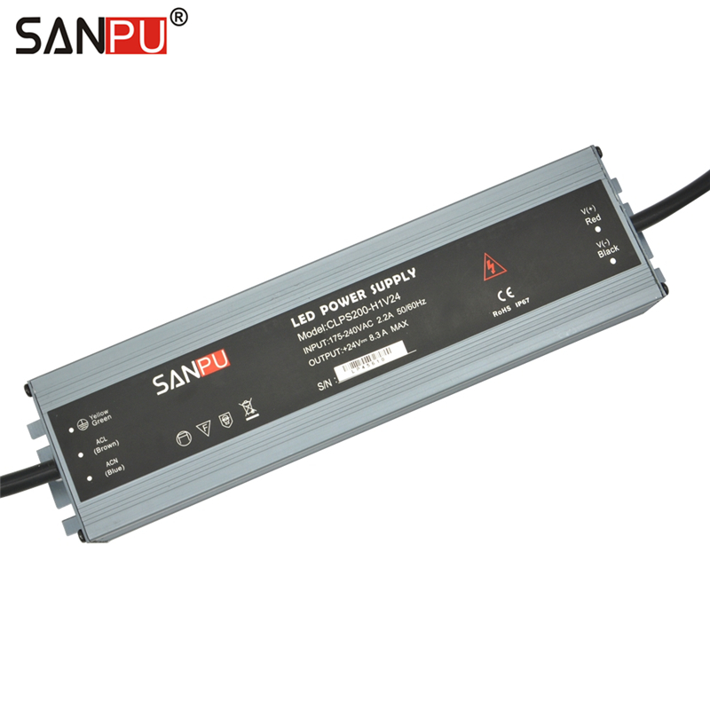 SANPU 24V LED Driver 200W 8A Waterproof IP67 24VDC Switch Mode Power Supply AC to DC Lighting Transformer 24 Volt Aluminum Slim sanpu 24v power supply waterproof ip67 250w 230v 220v ac to dc 24 volt lighting transformer led driver ultra thin slim for leds