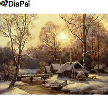 DIAPAI 100% Full Square/Round Drill 5D DIY Diamond Painting House snow scene Embroidery Cross Stitch 3D Decor A21060