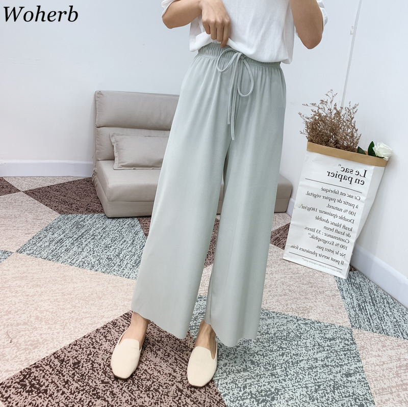 Woherb Modis Pleated   Wide     Leg     Pants   Women High Waist Loose Trousers Casual Summer Thin Knit Ice Silk Ankle-Length   Pant   Pantalone